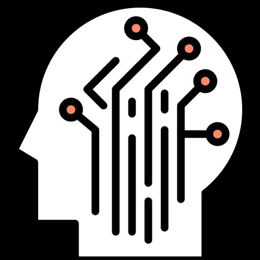 Disegno di circuiti all'interno di una testa
