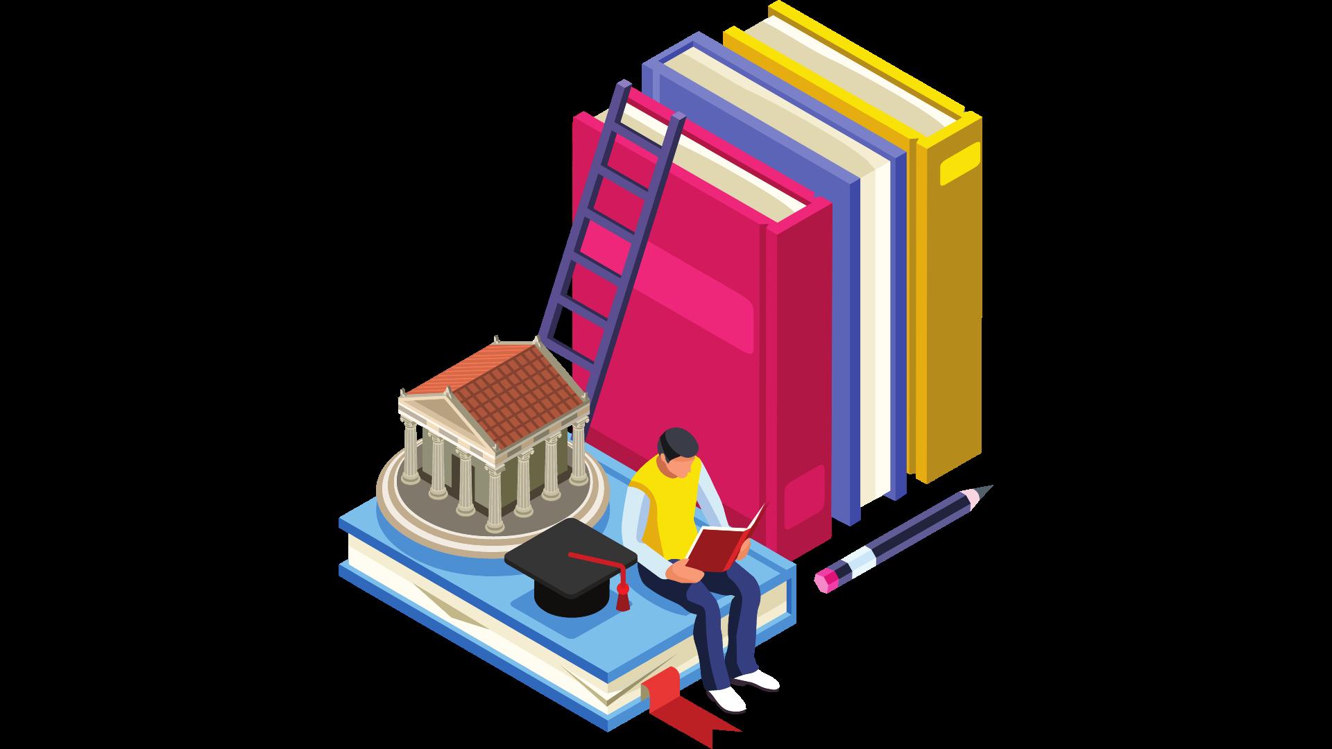 Disegno di un ragazzo che legge un libro